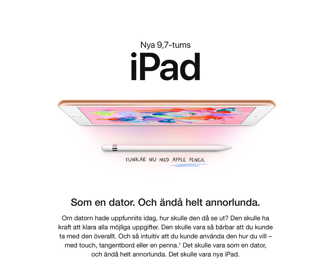 Nya 9,7-tums iPad har stöd för Apple Pencil, en snabbare processor, ännu bättre kameror och är den bästa iPaden någonsin