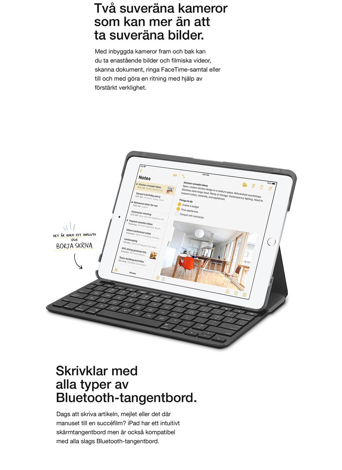 Den nya iPaden är kompatibel med alla Bluetooth-tangentbord