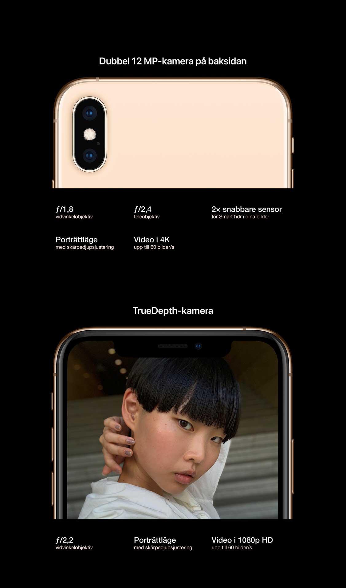 iPhone Xs har en avancerad kamera med två linser: en vidvinkel med f/1.8 och en telelins med f/2.4. Båda med 12 megapixlar