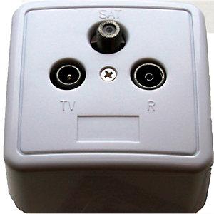 Triax koblingsboks for kabel- og satellitt-TV (hvit)