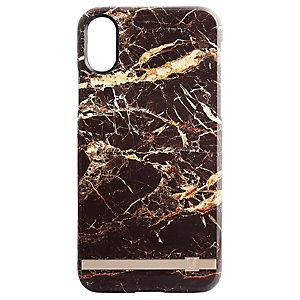 Uunique print design iPhone X deksel (brun/gullmarmor)