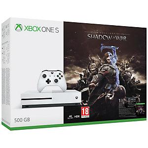 Xbox One S 500 GB + Shadow of War bundle (vit)
