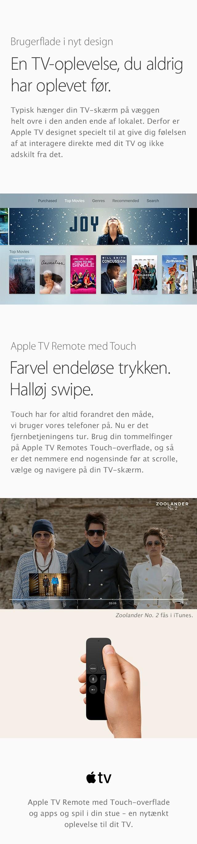 Få en TV oplevelse uden lige med Apple TV og Apple TV Remote