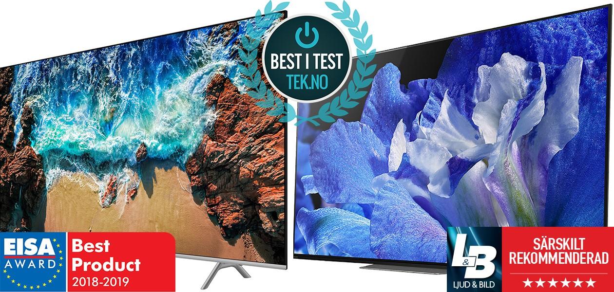 Bild av två TV-apparater med bäst-i-test logotyper