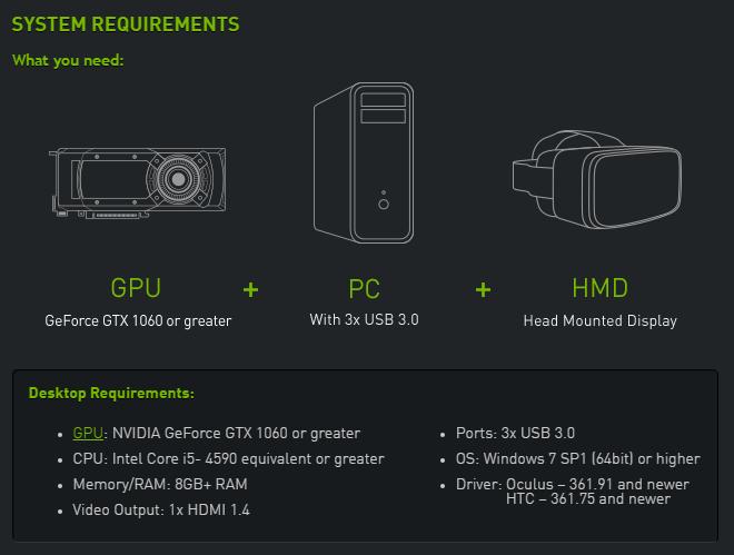 Systemkrav til VR