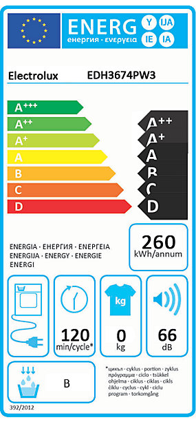 Orkumerki - ELECTROLUX DRYER HP 7KG A+