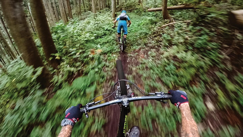 Billede taget ned over styret på en mountainbike på tur gennem skoven: GoPro HERO7 er stabil, når det det ryster mest, som i Downhill eksempelvis