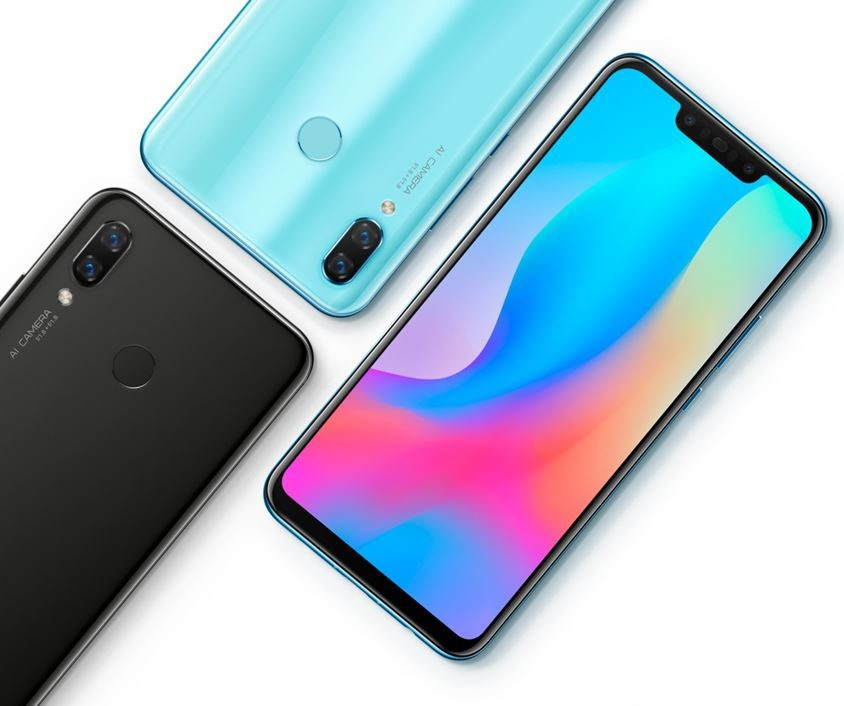 Huawei Nova 3 -älypuhelin saatavilla 3 värissä.