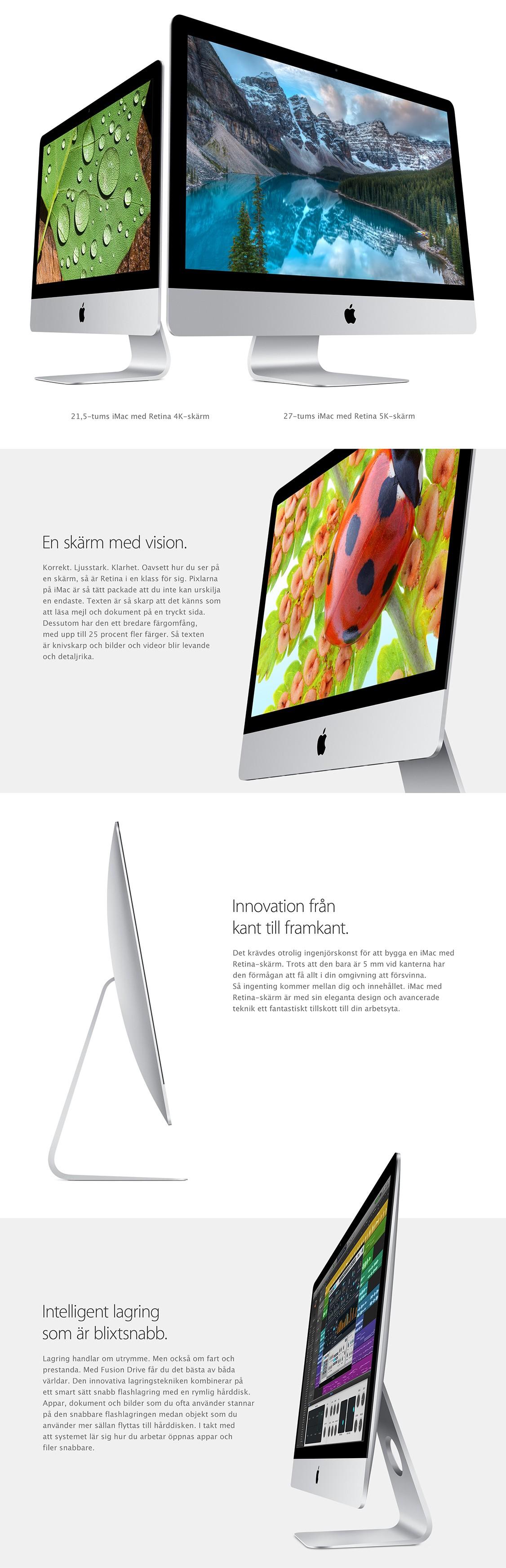iMac är utrustad med en Retina-skärm av yppersta klass