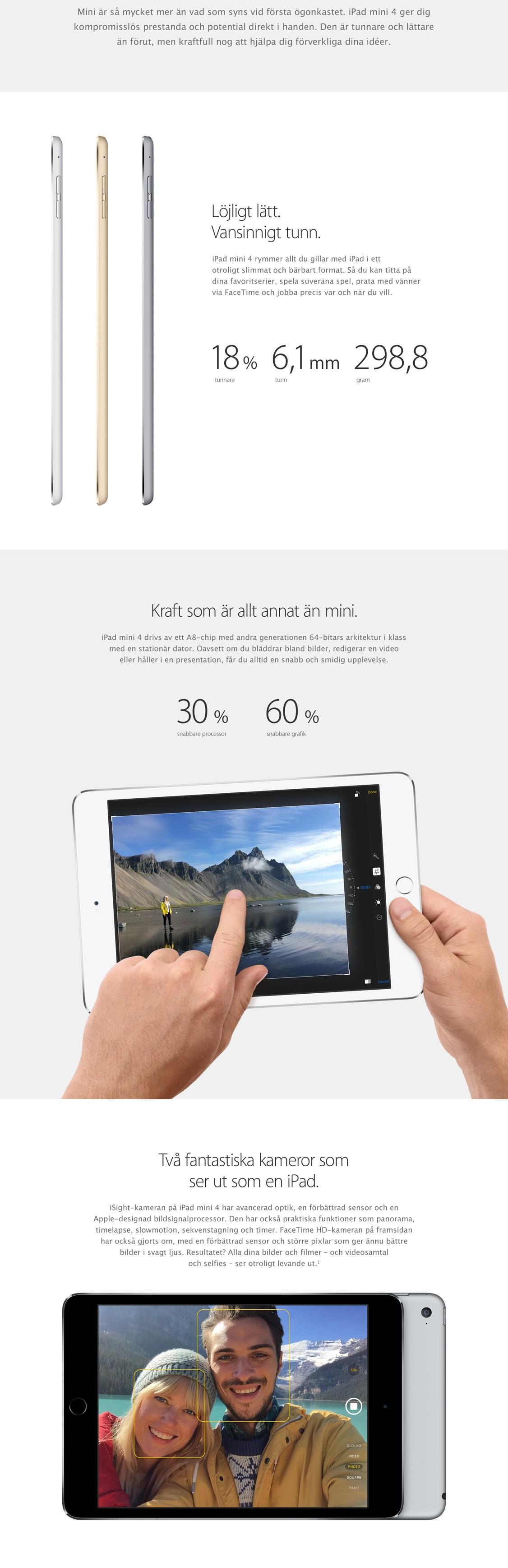 iPad mini 4 är kraftfull, tunn och lätt att ta med sig