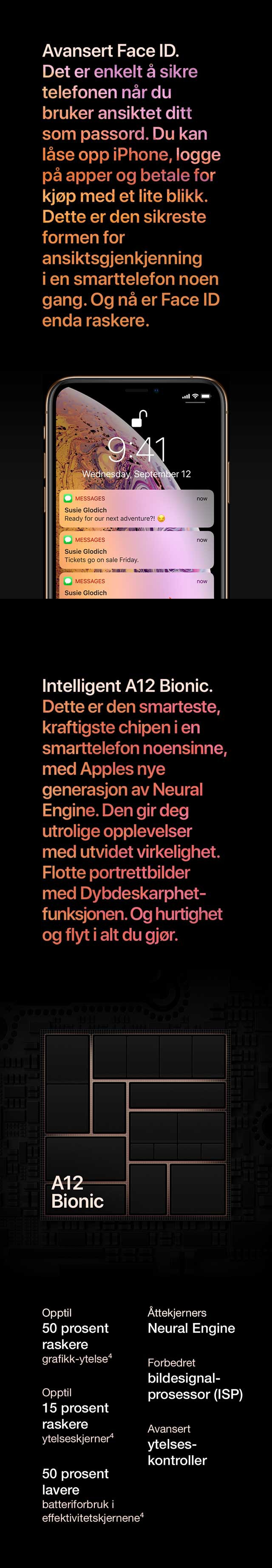 iPhone XS med avansert Face ID og intelligent A12 Bionic chip