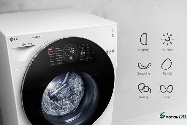 LG pyykinpesukone 6 Motion Direct Drive-tekniikalla