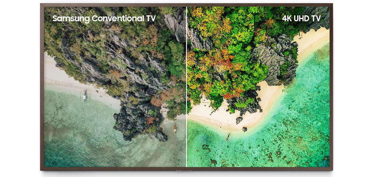 Bild som jämför en standard TV med de skarpa bilderna på Samsung 4K UHD-TV