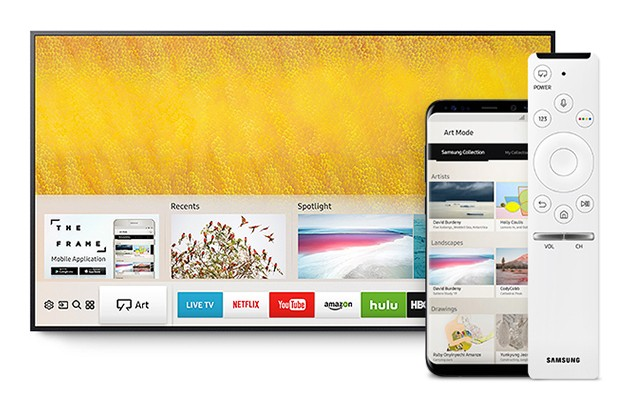 Bild av one remote-fjärrkontroll, The Frame och mobiltelefon