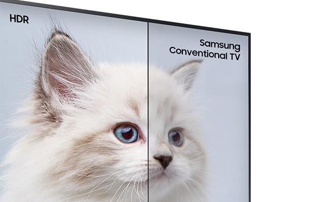 Bild som jämför en standard TV med bilderna på Samsung HDR